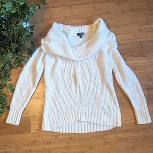 Cowl neck cream sweater